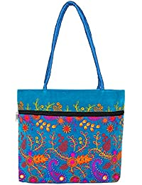 Ayeshu Blue Embroided Medium Shoulder Bag