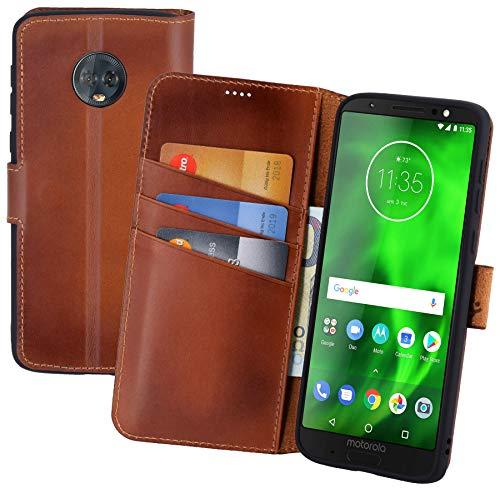 Suncase Book-Style (Slim-Fit) Leder Tasche Handytasche Schutzhülle Case (mit Standfunktion und Kartenfach - Bruchfester Innenschale) kompatibel für Motorola Moto G6 Plus Hülle in Burned - Cognac