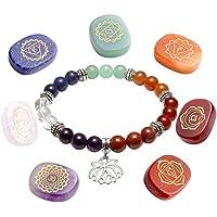 JOVIVI 7 Chakra Edelstein Oval Sanskrit Symbol Feng Shui Reiki-Energietherapie Steine Dekoration + Lotus Balance... preisvergleich bei billige-tabletten.eu