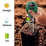 ANGGO Bodentester 3-in-1 Boden PH Wert Messgerät Feuchtigkeit Meter Lichtstärke Meter Pflanze Tester für Garten, Bauernhof, Rasen, Indoor & Outdoor (Kein Akku erforderlich) (3 in 1)