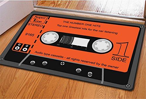 Rubility® 40 * 60 cm zerbini antiscivolo, Mat ultra-sottile, Tappeto tappeto con disegno 3D della Musica di nastro per la camera da letto / Cucina / Bagno / Porta (stile4)