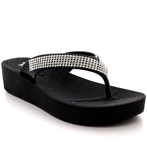 Womens Beach Holiday Thong Sandals Jelly Wedge Heel Diamante Flip Flops - Black - UK3/EU36 - PN0001