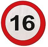 16. Geburtstag 20Papier Servietten Verkehrsschild Alter Party