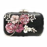IACON Damen Blume Imitationsperle Clutch Tasche Handschlaufe Unterarmtasche Schultertasche Handtasche Damentasche Citytasche Abendtasche für Hochzeit Veranstaltung / Fest (Black)