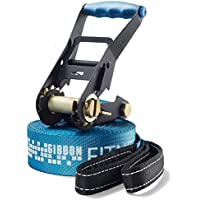 Gibbon Slacklines Fitness Line, blue, 15 meters, 12.5m Band + 2.5m ratchet strap, beginner, beginner and beginner and fitness enthusiast, with ratchet protection and ratchet restraint, 50 mm wide, perfect leisure sport,