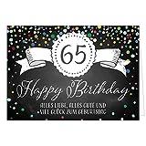 Große Glückwunschkarte XXL (A4) zum 65. Geburtstag - Tafel-Look Konfetti/mit Umschlag/Edle Design Klappkarte/Glückwunsch/Happy Birthday Geburtstagskarte/Extra Groß/Edle Maxi Gruß-Karte