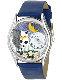 Whimsical Watches Cats Night Out Royal Blue Leather and Silvertone Unisex Quartz Watch with White Dial Analogue Display and Multicolour Leather Strap S-0120012