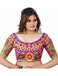 Kuvarba Fashion Women's Banglori Silk Stitched readymade free size Saree Blouse