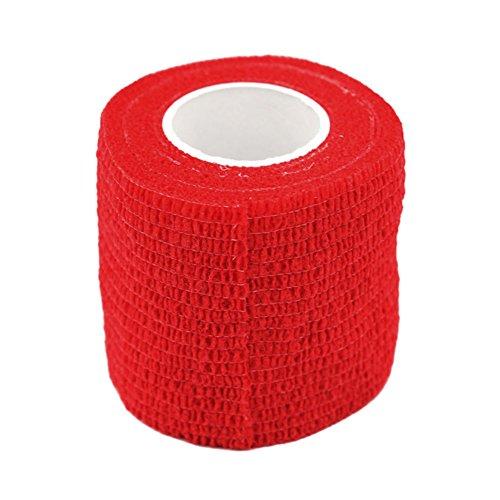 GEZICHTA Haftbandage, 5* 450cm selbsthaftende Elastische Bandage Vlies Stoffe Tattoo Erste Hilfe Medical Behandlung Pet Vet Wrap Selbst Den Haftbandagen (6Farben), Rot (Pet-wrap)