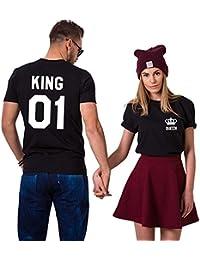 King Queen Shirts Pärchen Set T-Shirt Paar Tshirt Pärchen T-Shirts Für Zwei könig königin Kurzarm 2 Stücke