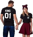 King Queen Shirts Pärchen Set T-Shirt Paar Tshirt Pärchen T-Shirts Für Zwei könig königin Kurzarm 2 Stücke (Schwarz+Schwarz, King-M+Queen-L)