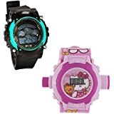 Shanti Enterprises Combo Hello Kitty 24 Images Projector Watch And Sports Watch Multi Color Dial For Kids - B0756ZSC7N