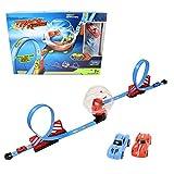 Auto Rennbahn aufziehbaren Autos - Kinder Spielzeug Auto Bahn mit Looping und Action Stunt Kuppel 2 x Aufziehauto mit Rückzug