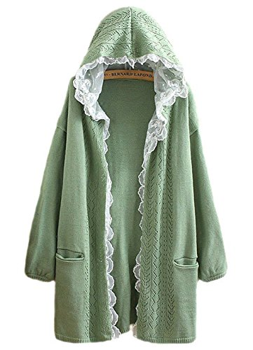 hqclothingbox Women Kawaii Harajuku Japanese Casual Lace Layered Jacket Coat Knitted Lace Sweater Cardigan -