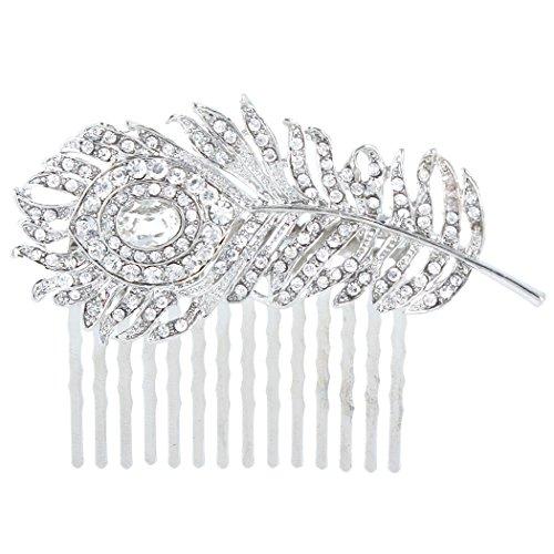 Flyonce Damen Österreichische Kristall Hochzeit Braut Pfau Feder Haar Kamm Klar Silber-Ton