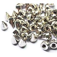 Mackur Nieten 9,5 mm Silber Kegel Spikes Schraubverschluss Nieten 100 Stück