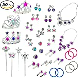 Princess Jewelry Dress Up Accessories Toy Playset For Girls (50 Pcs)