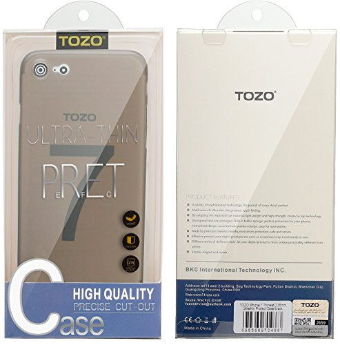 iPhone 7 Coque, TOZO® [0.35mm] Ultra-Thin [ Perfect Fit ] World's Thinnest Hard Protect Coque Back Cover Bumper [ Semi-transparent ] Lightweight pour iPhone 7 4.7 inch [Matte Ore bleu] Semi Transperant Matte Mocha noir