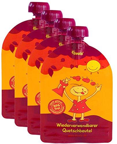 divata MINI Quetschies 100ml (4er Pack), BPA-frei - wiederverwendbare Quetschbeutel zum selbst befüllen mit u.a. Yoghurt, Smoothies, Babybrei. Kleine Größe - ideal für Babys & Kleinere Kinder (4er Set)