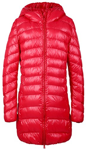 Santimon Damen Daunenjacke Lange Kapuzen Ultra Leicht Winter Wärm Daunenmantel Steppjacke Parka Jacke Rot XXX-Large