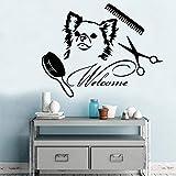 Modeganqingg Pet Grooming Art Aufkleber wasserdicht Pet Shop Home Decoration Wandbild schwarz XL 58 cm X 74 cm