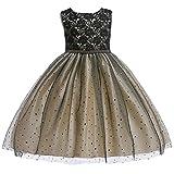 Tookang Mädchen Bestickt Spitzenkleid Layered Tüll Polka Dot Brautkleid Prinzessin Blumenkinderkleidung Elegantes Brautjungfernkleid Champagner-110