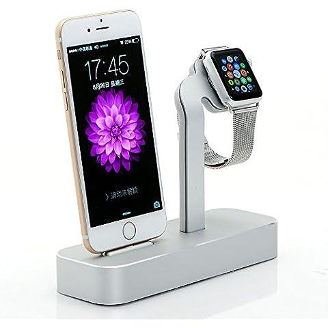 Apple Watch Stand, iPhone 6S soporte, Fogeek [2en 1Base de carga] Apple reloj soporte de carga, aluminio sólido cargador estación de carga para Apple Watch 38mm/42mm, iPhone 6S Plus (2015)...