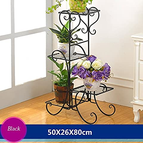 Cadre en fleur de fer Cadre de châssis de style de plancher Salon de salon intérieur et extérieur Balcon Rack de fleurs 4 couches (50 * 26 * 80cm) ( Couleur : Noir )