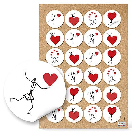 48 HERZMENSCH HERZ Aufkleber rund schwarz rot weiß 4 cm Sticker Geschenkaufkleber Verpackung Gastgeschenk Mitgebsel give-away Papiertüten zukleben Tischkarten basteln