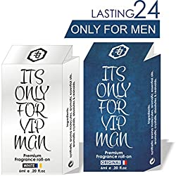 COMBO PACK OF ITS ONLY FOR VIP MAN ( WHITE & BLUE ) LONG LASTING ATTAR PERFUME FOR MEN , 100% ALCOHOL FREE LONG LASTING ATTAR ( MOST ATTRACTIVE FRAGRANCE )