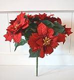 Weihnachtsstern 5 Blüten Deko Kunstblume Poinsettia X-mas Trockengesteck Weihnachtsdeko rot ca. 30cm