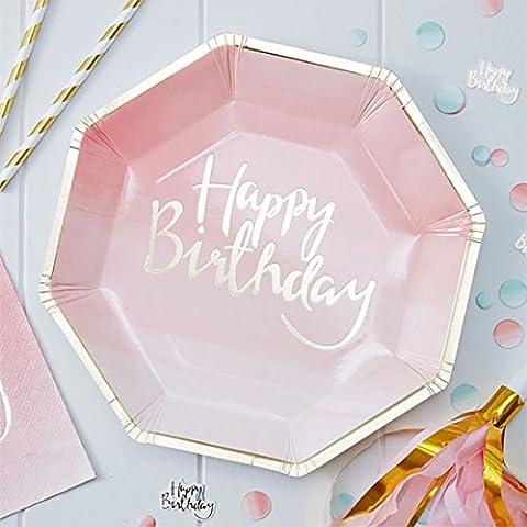 erdbeerloft - Party Dekoration Tisch Partyteller Happy Birthday Schriftzug 8 Stk. 23cm, Rosa