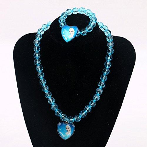 Frozen Elsa Princess Necklace & Bracelet Set for Kids | Girls Frozen Jewelry Set