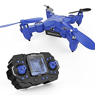 DROCON Scouter Mini Spinning Drone for Kids Foldable Hovering Pocket Quadcopter with Altitude Hold Mode Search Light - 901H Blue