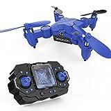 Mini Drone DROCON Scouter da Acrobazie per Ragazzi, Quadricottero Tascabile e Ripiegabile con Altitude Hold e Proiettore – 901H Blu