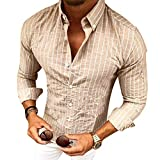 Manica Lunga Camicia a Righe per Uomo Autunno Primavera Camicie Casual con Turn-Down Colletto Moda Slim Fit Camicia Shirts Tops con Pulsante