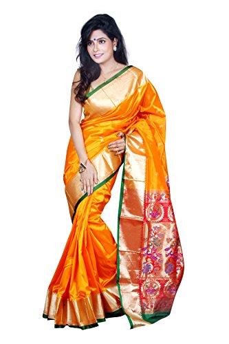 Aruna Fashions Self Design Paithani Art Silk Saree(Gold color saree with green...