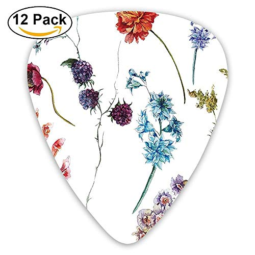 Watercolor Wildflowers Leaves Daisies Lavenders With Spring Branches Garden Guitar Picks 12/Pack Set -