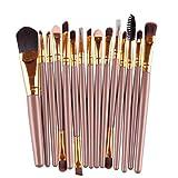 Saingace Make up Pinsel 15 PC / Sätze Lidschatten Foundation Braue Lippen Goldpinsel Make-up Pinsel-Werkzeug Gold