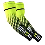 Jisen Sports Arm Cooling Sun Protection Compression Arm Sleeves for Cycling Golfing Football Tennis Baseball Basketball Outdoor Activities (One Pair)