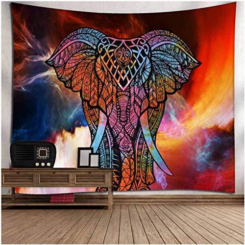 CHIYEEE Tapisserie Indisch Psychedelic Wandteppich Mandala Silber Grau Indischer Bohemian Wandbehang Elefant Boho Baumwolle Hippie Wandtuch Meditation Yoga Mats 150 X 230cms -
