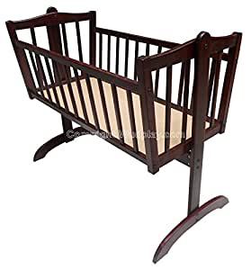 Wudplay Wisteria Teak Wood Lockable Cradle (Rosewood Finish)