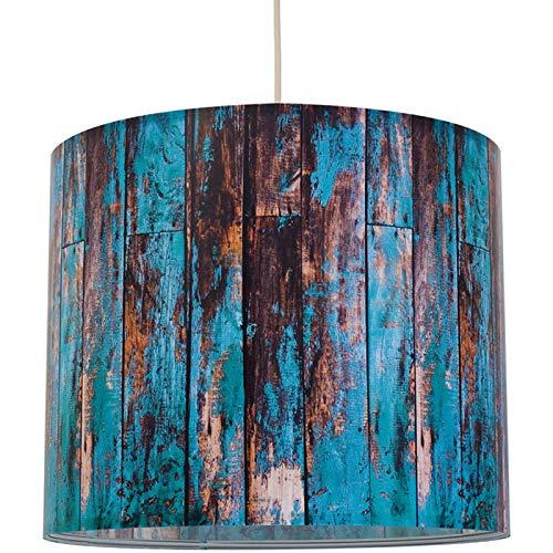 anna wand Lampenschirm/Hängelampe Wood TÜRKIS - Schirm für Lampen mit Motiv in Holz-Optik - Sanftes Licht auch für Tischleuchte oder Stehlampe - ø 40 x 34 cm