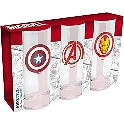Pack 3 vasos Los Vengadores. Capitán América, Iron Man y Logo