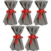 Sensalux, 5 Stehtischüberwürfe (nicht genäht) abwischbar - (Farbe nach Wahl), Überwurf grau Schleifenband rot, Tischdurchmesser 60-70 cm, die preisgünstige Alternative zur Husse