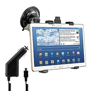 kwmobile Support automobile pour pare-brise pour Samsung Galaxy Tab S 10.5 T800 / T805 - Support voiture avec ventouse en noir + chargeur