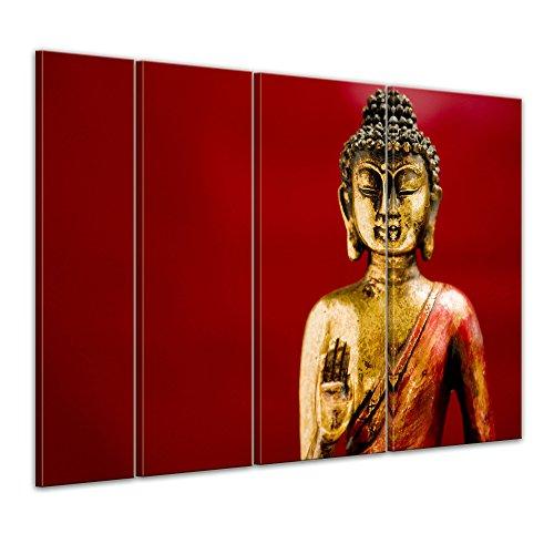 Bilderdepot24 Kunstdruck - Buddha III - Bild auf Leinwand 180 x 120 cm 4tlg - Leinwandbilder - Bilder als Leinwanddruck - Wandbild Geist & Seele - Buddhismus - goldene Statue mit rotem Hintergrund