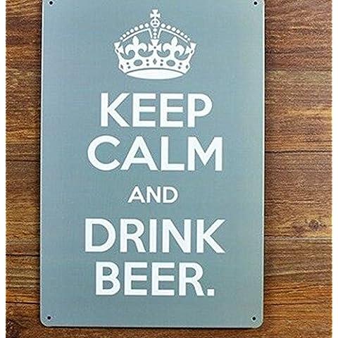 Parete metallica arte - mantenere la calma e a bere birra di verniciatura di metalli segno di stagno Bar pub home la decorazione parietale ,30x20cm
