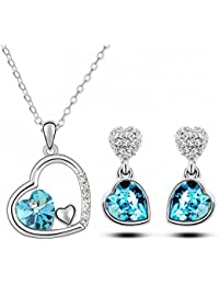 Crunchy Fashion Blue crystal Pendant Set For Women