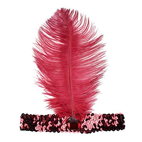 1920s Stirnband Damen Gatsby Kostüm Accessoires 22er Jahre Flapper Feder Haarband Frauen Pailletten Showgirl Haarschmuck Perlen Stirnbänder Halloween Weihnachten Karneval Party Kostüm Haarband